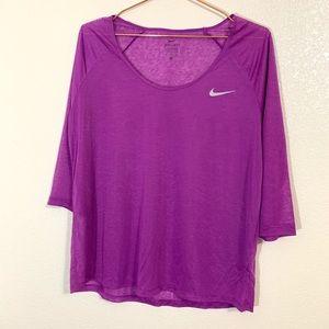 Nike | Drifit Purple Sheer 3/4 Sleeve Top - Large